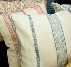 Hand Printed Fabrics by Carolina Irving Textiles. These look like Latvian Lielvārdes belt symbols.