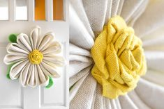 Burlap sunflower wreaths are very popular so why not make a burlap flower for every season? These burlap flowers are perfect for hanging on the front door. Easy Burlap Wreath, Sunflower Burlap Wreaths, Burlap Wreath Tutorial, Burlap Flowers, Diy Wreath, Burlap Projects, Burlap Crafts, Wreath Crafts, Diy And Crafts