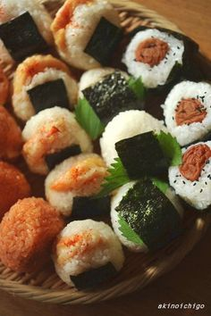 Rice balls! Kimchi and cheese, shrimp, soy sauce and pickled salmon roe, and pickled plum