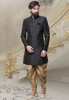Buy Black Dhoti Style Indo Western Sherwani online, SKU Code: This Black color indowestern sherwani for Men comes with Art Silk. Wedding Dresses Men Indian, Wedding Dress Men, Wedding Men, Wedding Suits, Wedding Ideas, Sherwani Groom, Mens Sherwani, Wedding Sherwani, Dhoti Pants For Men