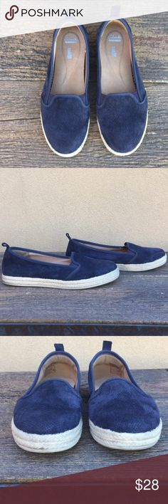Clark blue suede espadrille slide on size 8W Clark blue suede espadrille slide on Clarks Shoes Espadrilles