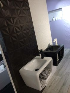 The 2211 series . Nice textured #tiles. Do you prefer the #Black or the #white one? We love them both! #bathroom #homedecor #tiles #ceramics #porcelanitedos #black&white