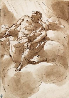 Ubaldo Gandolfi (1728-1781), A half-draped Figure, seated on a cloud; red chalk, pen and brown ink, brown wash, 11x8 in