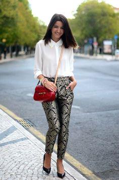 printed brocade pants
