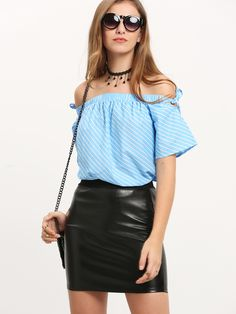 Online shopping for Blue White Striped Off The Shoulder Tie Blouse from a great selection of women's fashion clothing & more at MakeMeChic. Tie Blouse, Off The Shoulder, Leather Skirt, Cool Style, Blue And White, Skirts, Outfits, Dresses, Fun