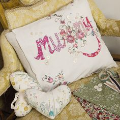 Original by Little A Designs Applique Cushions, Patchwork Cushion, Personalised Cushions, Sewing Techniques, Bed Pillows, Sewing Projects, Shabby Chic, Arts And Crafts, Textiles