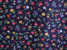 Vintage 70s Small Scale Calico Fabric Yellow Red by CuteBrightFun, $12.00