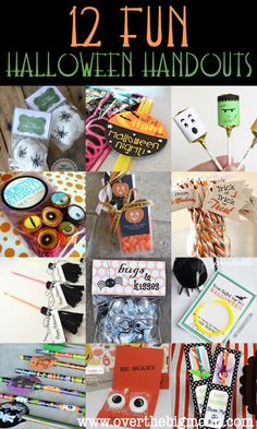 12 Fun handout ideas for Halloween night! These are some cute ideas and not to difficult!
