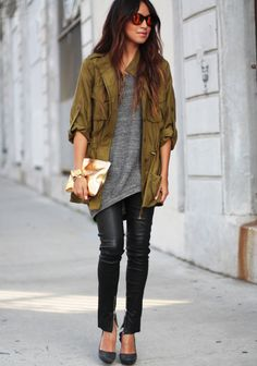 Grey tee + military coat + leather skinnies.