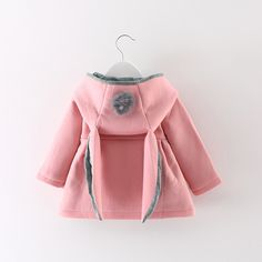 >> Click to Buy << Baby girls jacket coat rabbit ear hooded infant winter autumn outerwear jackets pink/red/grey coats kids clothing baby clothes #Affiliate