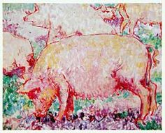 Mikhail Larionov, Russian impressionist painter and designer who also initiated two very important movements: Rayonism (Rayism) and Neo-primitivism. Russian Painting, Russian Art, Silver Poem, Russian Avant Garde, Avant Garde Artists, Pig Art, Naive Art, Animal Paintings, Great Artists