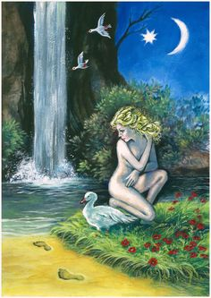 ART PRINT-Aphrodites bath, Greek goddess of love and beauty, with goose, doves, waterfall, evening star and the crescent moon, fantasy