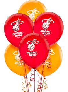 Miami Heat Latex Balloon 12in 6ct - Printed Latex Balloons - Balloons - Categories - Party City