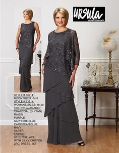 Ursula 63214 Stretch Lace with Silky Chiffon Long Dress with Jacket