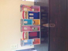 Inside of fairy castle!  Bought at Michael's for $13.00 and painted it ourselves!