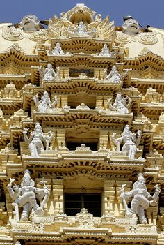 Intricate carved details and statues of the temple Sri Cahmundeswari atop Chamundi Hill in Mysore, India