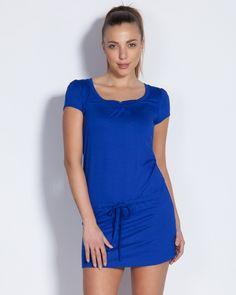Лятна туника с коланче в синьо - Dafne #Ефреа #online #онлайн #пазаруване #дрехи #туника #късръкав #колан #лято #сниьо