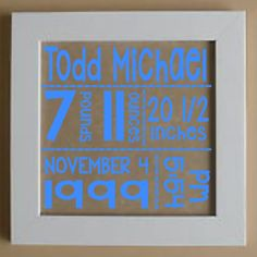This adorable shadow box highlights the stats of your new bundle of joy and is a great addition to a baby's nursery. Makes a wonderful gift. Many background cho