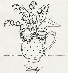 cute pattern for embroidery  lily of the valley