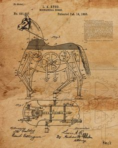 VINTAGE PATENT DRAWING of Mechanical Toy Horse Canvas Print