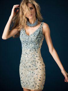 Beaded short evening dress, Style 158888