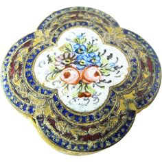 Vintage Early 20th Century Floral Enameled Comapct