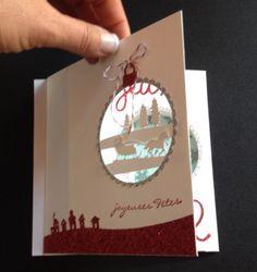 Tutoriel carte pivotante de Noël par Marie Meyer Stampin up - http://ateliers-scrapbooking.fr/