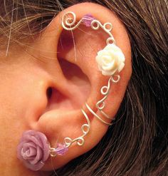 Non Pierced Ear Cartilage Cuff  Roses are by ArianrhodWolfchild