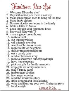 Traditions list ideas - mostly for holidays