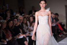 Sheer Skirt and One Strap Sweetheart Wedding Dress by Mira Zwillinger for Spring 2017 Bridal Fashion Week Photo by Jessica Haley