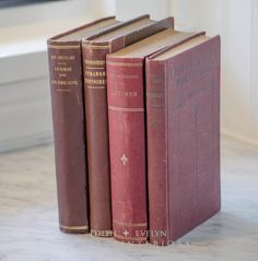 Antique French Books Set of Four Red Gilt by edithandevelyn