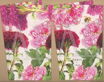 Set of 4 Paper Napkins by Michael Design Works ~ x 8 French Botanical Collage Peony Celosia Pink and Red Peonies Bumble Bee Peacock Fabric, Red Peonies, Paper Napkins, Peony, Bee, Collage, French, Studio, Handmade