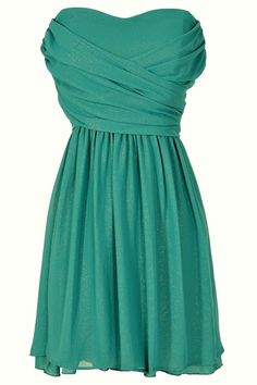 Dress To Impress Strapless Chiffon Dress in Teal Shimmer  TO WEAR AS A WEDDING GUEST 29''