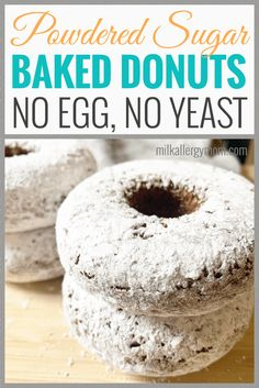 Make these dairy-free, egg-free powdered sugar donuts at home, easy peasy! Recipe + video tips at Milk Allergy Mom. Egg Free Recipes, Donut Recipes, Sugar Donut, Powdered Sugar, Milk Allergy, Dairy Free Breakfasts, Dairy Free Eggs, Milk And Eggs, Baked Donuts