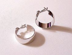 Monet Wedding Band Hoops Pierced Post Stud Earrings Silver Tone Vintage Extra Large Wide Smooth