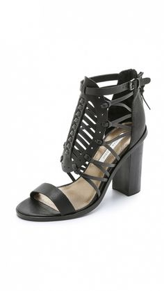 Cynthia Vincent Flora Chunky Heels Sandals in black