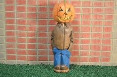 Halloween Pumpkin Head woodcarving hand carved and hand painted by MADellinger…
