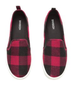 Red and black checked flannel slip-on sneaker. | H&M Shoes