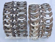 Amalian Aarteet: Klipsuja siellä, klipsuja täällä Tab, Crochet, Bracelets, Liqueur, Silver, Jewelry, Pop Tab Crafts, Rings, Tutorials