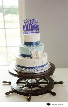 nautical wedding cake ship wheel cake stand