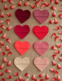 sewn felt hearts to hold candy