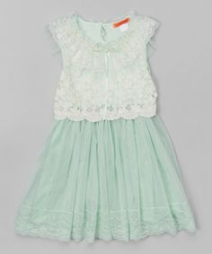 Another great find on #zulily! Green Pearl Lace Dress - Toddler & Girls by Funkyberry #zulilyfinds
