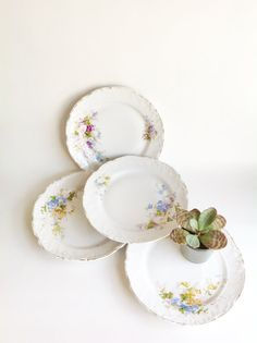 Vintage Porcelain Plates-Set of Four Unique Floral Designs with Gold Rim