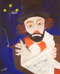 Palhaço lendo Wall Street Journal Margaret Pappas (EUA, contemporânea) óleo sobre tela, 90 x 60 cm