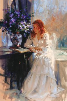 Another picture of a girl reading by artist Richard S. Johnson