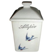 Lovely Bluebird China ALLSPICE Jar (Canister)