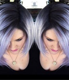 Turquoise Root to Silver Color Melt - Career - Modern Salon