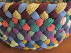 8 Inch Colorful Braided Basket from recycled cotton by mrsginther, $40.00