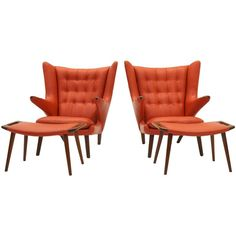 Pair of Hans Wegner Papa Bear Chairs and Ottomans for A.P. Stolen | From a unique collection of antique and modern lounge chairs at https://www.1stdibs.com/furniture/seating/lounge-chairs/