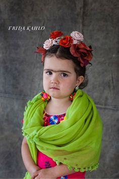 Little Frida Kahlo Kid's Halloween Costume . now this is a serious halloween costume but the poor kid is most likely wanting to be hello kitty. Homemade Halloween Costumes, Diy Halloween Costumes For Kids, Cute Costumes, Costume Ideas, Funny Halloween, Happy Halloween, Feminist Halloween Costumes, Awesome Costumes, Halloween Photos